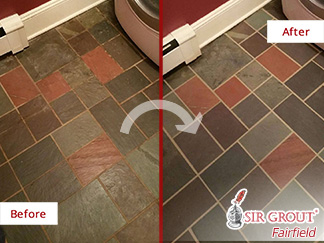 Learn How Our Professionals Grout Cleaners Renewed This Dirty and Stained Tile Floor in Stamford, Connecticut