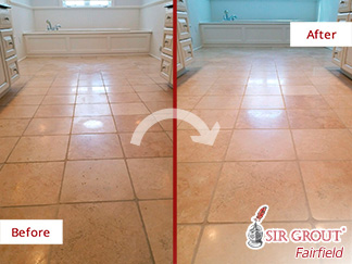 Before and after Picture of These Besmirched Floors Totally Rescued Thanks to Our Stone Honing Experts in Wilton, CT