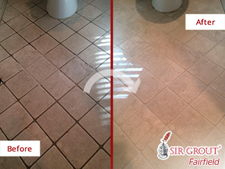 Before and after Picture of This Bathroom Floor Saved from Grime Thanks to a Grout Cleaning in Ridgefield, CT
