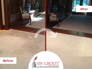Before and After Picture of a Hard Surface Restoration Service on a Marble Floor in Stamford, CT
