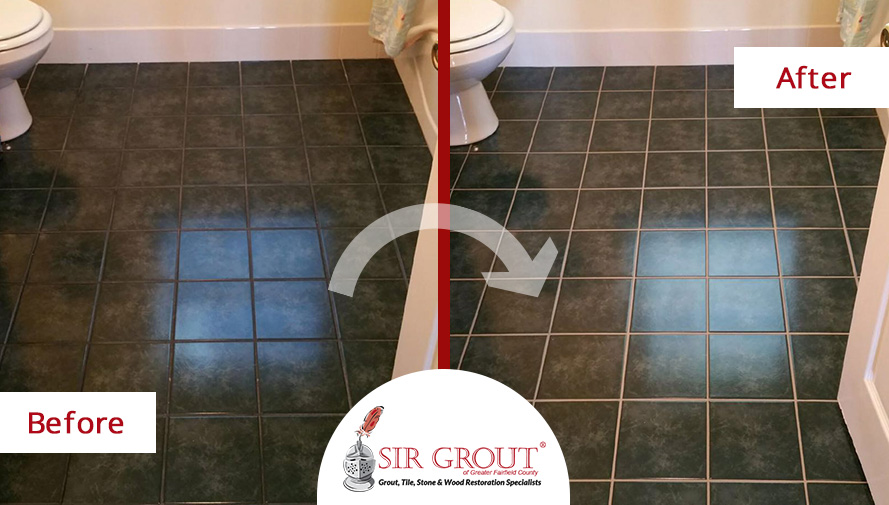 Before and After Picture of a Bathroom Grout Recoloring Job in New Fairfield, CT