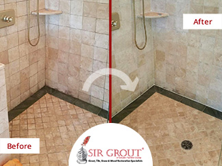 Before and After Picture of a Natural Stone Shower Grout Cleaning in Darien, CT