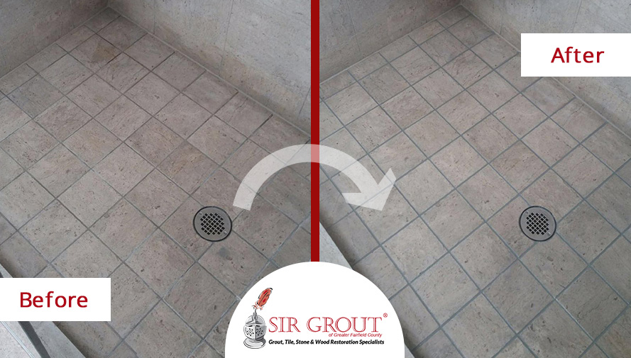 Before and After Picture of a Shower Floor Grout Sealing Service in Ridgefield, CT