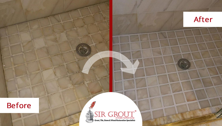 Before and After Picture of a Bathroom Grout Sealing Service in Ridgefield, CT