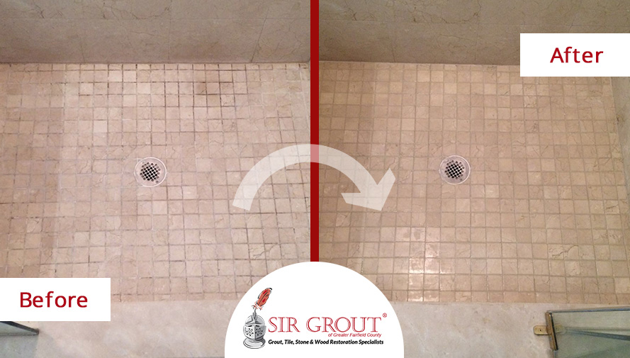 Before and After Picture of a Bathroom's Grout Cleaning Job in Stamford, CT