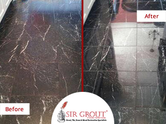 Before and After Picture of a Marble Floor Polishing Service in Danbury Connecticut