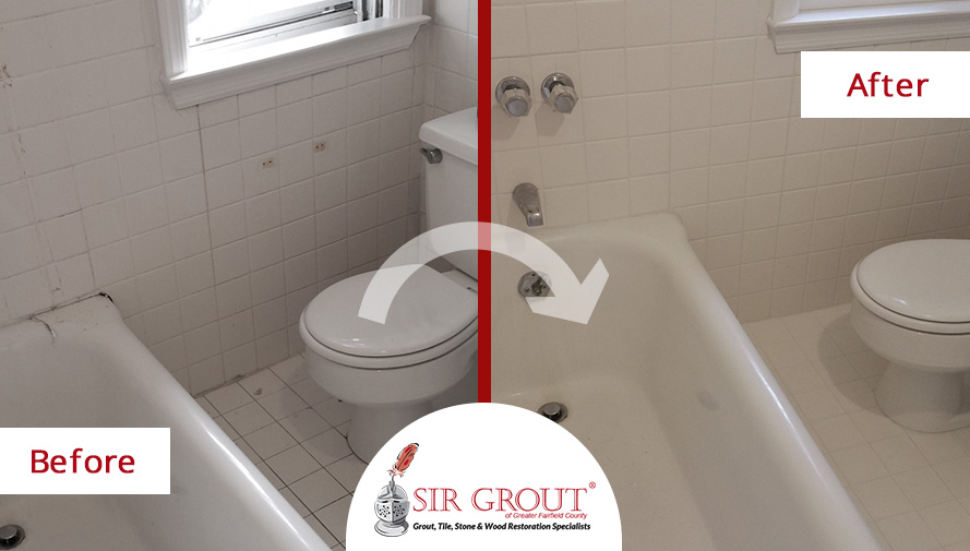 In Just One Day Caulking Services Refreshed This YearOld White - Bathroom in a day