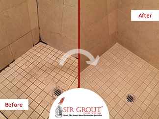 Before and After Picture of a Grout Cleaning Service in Westport, CT