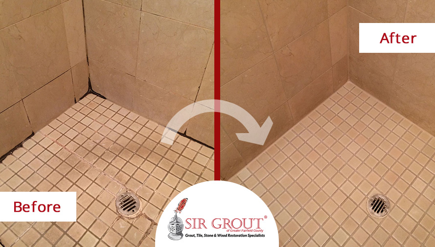 Two Birds One Stone See How We Restored Both These Foyer And - Bathroom grout cleaning services