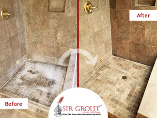 Before and After Picture of a Bathroom Stone Cleaning Service in Stamford, CT