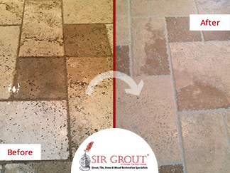 Before and After Picture of a Stone Cleaning Service in Stamford, CT