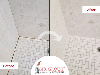 Before and After Picture of a Shower Caulking Service in Stratford, CT