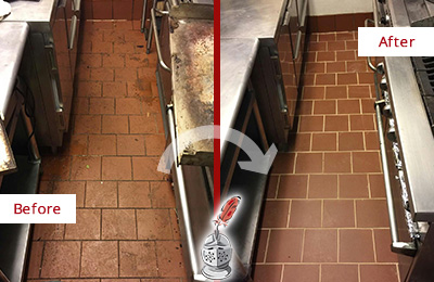 Before and After Picture of a Stratford Restaurant Kitchen Tile and Grout Cleaned to Eliminate Dirt and Grease Build-Up