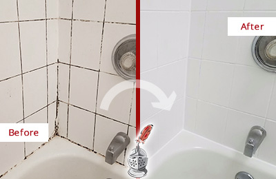 Before and After Picture of a Shippan Point Shower Tile and Grout Cleaned to Eliminate Mold
