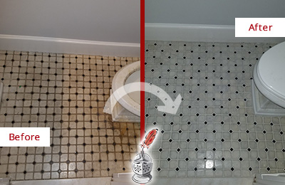 Before and After Picture of a Stratford Bathroom Tile and Grout Cleaned to Remove Stains