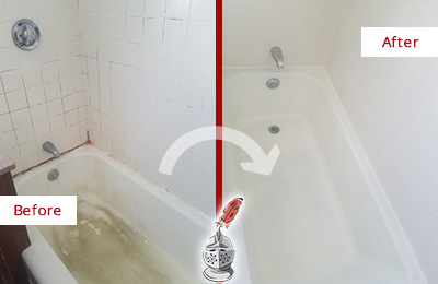 Before and After Picture of a Redding Ridge Bathtub Caulked to Repair Cracks