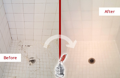 Before and After Picture of a Shippan Point Bathroom Re-Caulked To Repair Damaged Caulking