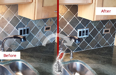 Before and After Picture of a Shippan Point Backsplash Caulked to Fix and Prevent Water Leaks