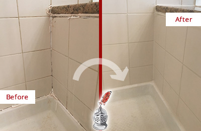Before and After Picture of a Sandy Hook Shower Caulked to Repair Damaged Caulking