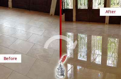 Before and After Picture of a Dull Sandy Hook Travertine Stone Floor Polished to Recover Its Gloss