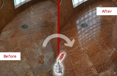 Before and After Picture of a New Canaan Marble Stone Shower Polished to Eliminate Mineral Deposits