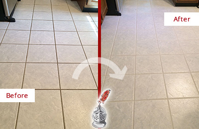 Before and After Picture of a Sandy Hook Kitchen Ceramic Floor Sealed to Protect From Dirt and Spills