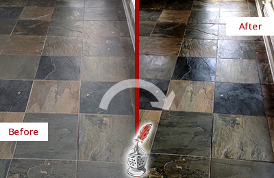 Before and After Picture of a Dull Sandy Hook Slate Floor Sealed to Bring Back Its Colors