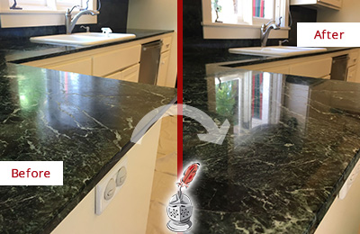 Before and After Picture of a Newtown Marble Kitchen Countertop Honed to Remove Water Marks