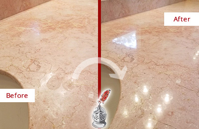 Before and After Picture of a Newtown Marble Vanity Top Honed to Eliminate Water Spots