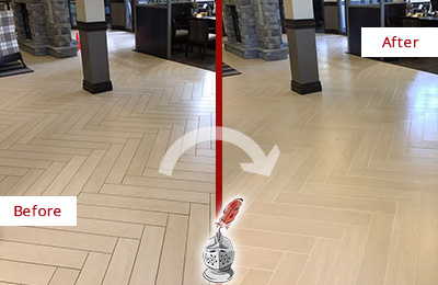 Before and After Picture of a Westport Hard Surface Restoration Service on an Office Lobby Tile Floor to Remove Embedded Dirt