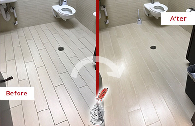 Before and After Picture of a Georgetown Office Restroom's Grout Cleaned to Remove Dirt