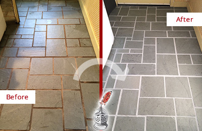 Before and After Picture of Damaged Bridgeport Slate Floor with Sealed Grout