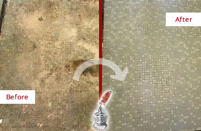 Before and After Picture of a New Canaan Mosaic Shower Cleaned to Eliminate Embedded Dirt