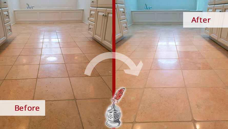Before and after Picture of These Besmirched Floors Successfully Rescued Thanks to Our Stone Honing Experts in Wilton, CT