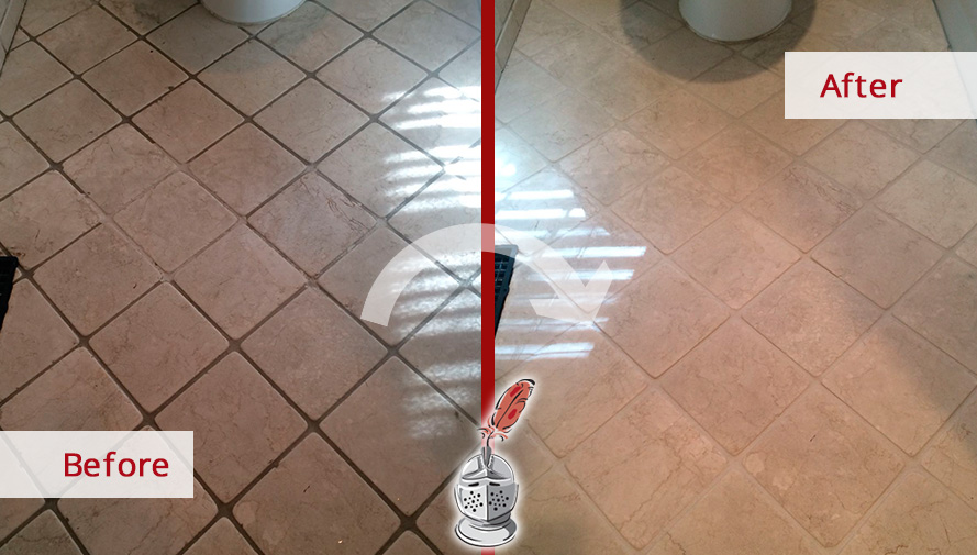 Before And After Picture Of This Bathroom Floor Saved From Grime Thanks To  A Grout Cleaning