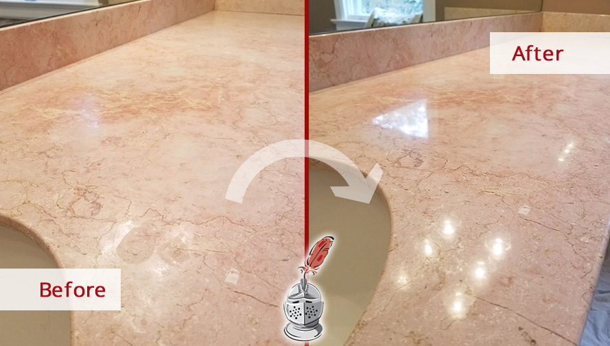 Before and After Picture of a Bathroom Countertop Renewed with a Stone Honing Job in Darien, CT