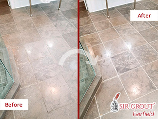 Before and After Picture of a Dull Bathroom Floor Restored with a Stone Honing Job in Darien, CT