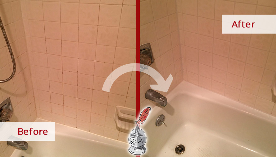 Before and After Picture of a Bathtub Grout Cleaning in Westport, CT