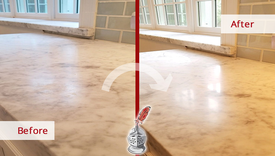 Before and after Picture of This Stone Honing Job Done in Ridgefield, CT, That Restored This Dulled Marble Countertops
