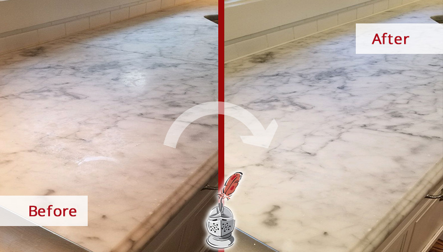 Before and after Picture of This Outstanding Stone Honing Job in Ridgefield, Ct, that Restored These Dulled Marble Countertops