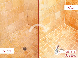 Before and After Picture of the Transformation This Shower Received in Stamford, CT, Thank to a Grout Cleaning Job