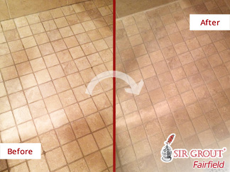 Before and after Picture of Two Bathrooms after Our Hard Surface Restoration Services in Fairfield, CT