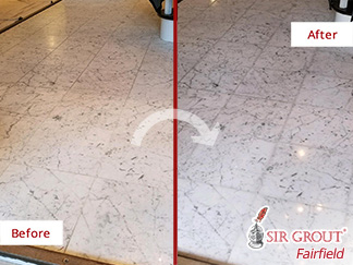 Before and after Picture of Our Stone Polishing Service in Ridgefield, CT