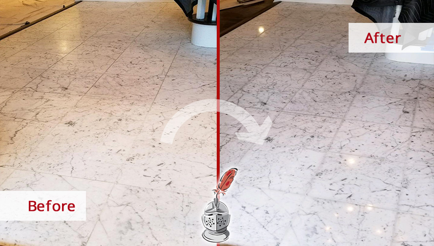 Before and after Picture of Two Restored Surfaces after Our Stone Polishing Services