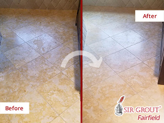 Before and after Picture of This Floor after Our Stone Honing Services in Ridgefield, CT