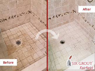 Before and after Picture of This Shower after a Stone Cleaning in Greenwich, CT
