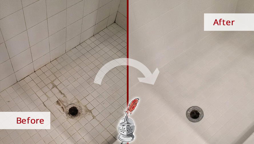 Before and after Picture of This Bathroom Shower after Our Grout Cleaning Job in Wilton, CT