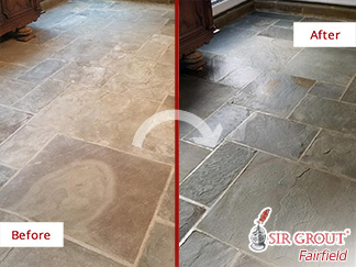Before and after Picture of a Stone Cleaning Service in Fairfield, CT
