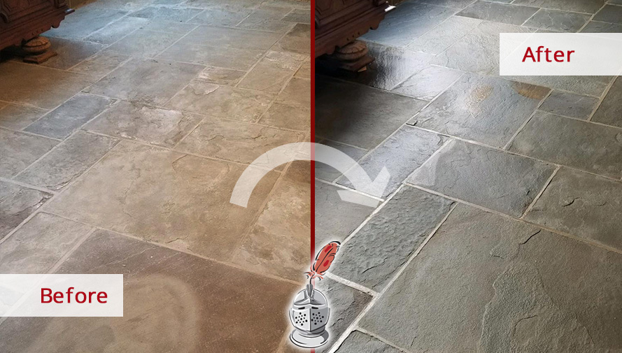 Before and after Picture of This Dull Floor after a Stone Cleaning Service in Fairfield, CT