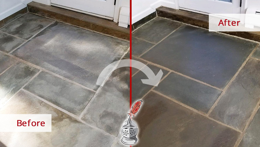 Before and after Picture of a Stone Cleaning Job to This Natural Stone Floor in Fairfield, CT